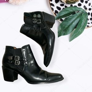 Black Size 7.5 Anne Marino Buckle Ankle Booties